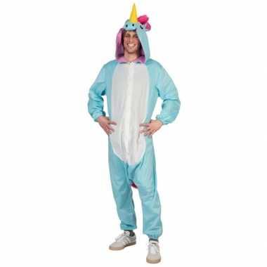 Canaval onesie blauwe eenhoorn heren huispak