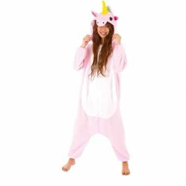 Dierenpak eenhoorn pinky onesie verkleed kostuum dames huispak