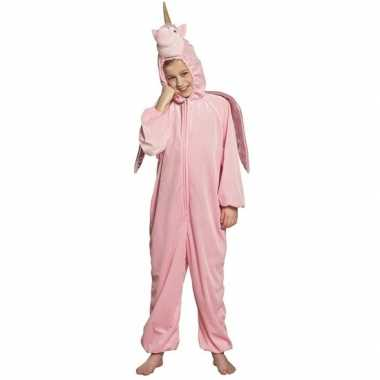 Eenhoorn dieren onesie/kostuum kinderen roze huispak
