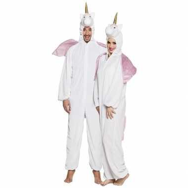 Eenhoorn dieren onesie/kostuum volwassenen wit huispak