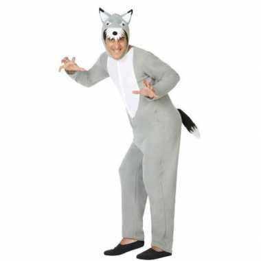 Grijze wolf dieren verkleedkleding onesie volwassenen huispak