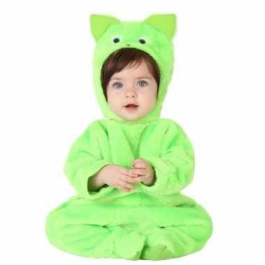 Groene kat dierenkostuum babys huispak