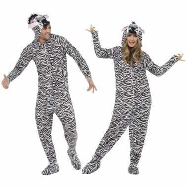Jumpsuit zebra all-one volwassenen huispak