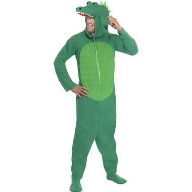 Krokodil onesie kostuum volwassenen huispak
