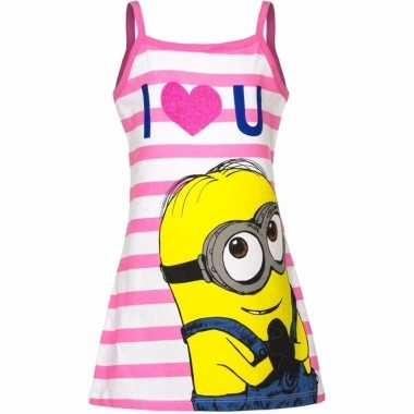 Minions jurk pyjama wit roze meisjes huispak