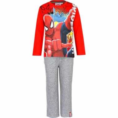 Pyjama spiderman rood grijs huispak