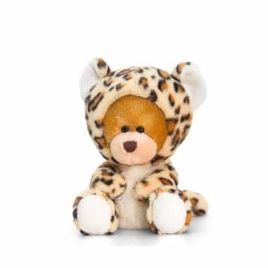 Zittende beer luipaard onesie 14cm huispak