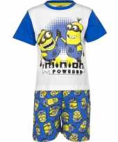 Blauwe minion powered korte pyjama jongens huispak