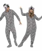 Jumpsuit zebra all one volwassenen huispak