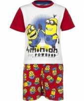 Rode minion powered korte pyjama jongens huispak