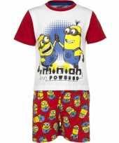 Rode minion powered korte pyjama jongens huispak